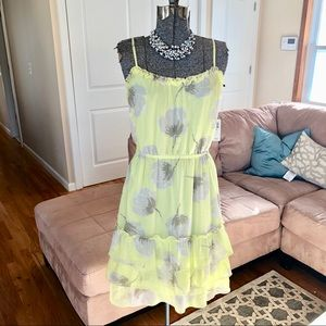NEW WITH TAGS YELLOW AND GRAY FLORAL PRINT DRESS