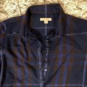 Burberry Brit Check Cotton Tunic Dark Blue Small