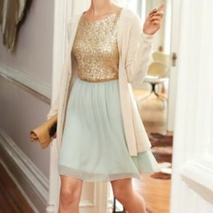 Maison Jules Mint Pastel and Gold Sequin Dress