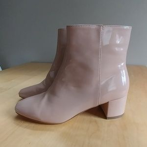 Patent faux leather ankle boots nude, size 10 NWOT