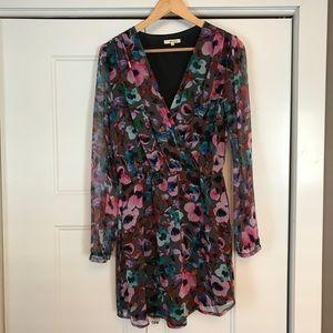 Silk Chiffon High Low Floral Dress