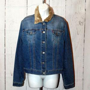 Vintage Levi Strauss denim jacket faux fur collar