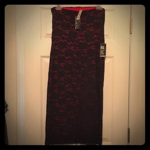 NWT Express Red & Black Lace Strapless Dress
