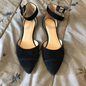 Navy Suede Ankle Strap Flat