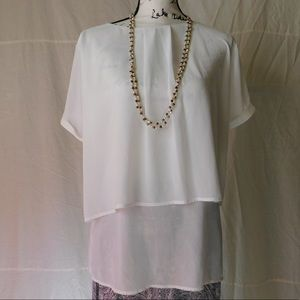NWT ny collection white chiffon blouse
