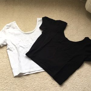 NWOT black and white crop top