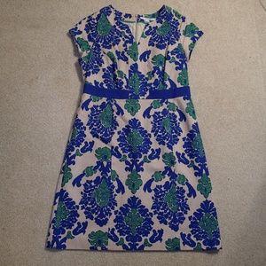 Boden Navy Notch Neck Textured Cotton Shift Dress