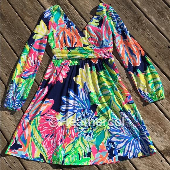 cf6cb2e1530f35 Lilly Pulitzer Dresses | Fleur Dress Travelers Palm | Poshmark