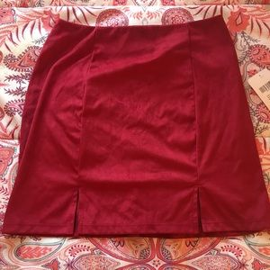Red suede forever 21 mini skirt