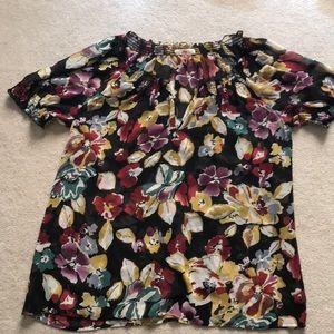 Black multi colored floral sheer blouse