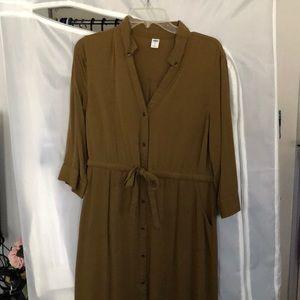 3/4 sleeve olive green dress