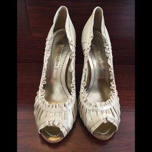 BCBGMaxAzria Satin Peep-Toe Heels