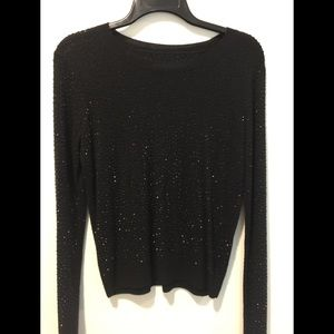 Alice + Olivia Black Rhinestoned Sweater