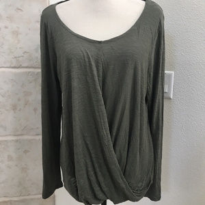 Olive Green Top size L 100% rayon Faux Wrap