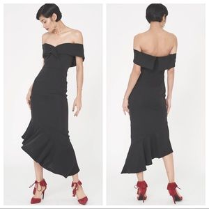 Lavish Alice Woven Burdot Asymmetric Dress Black