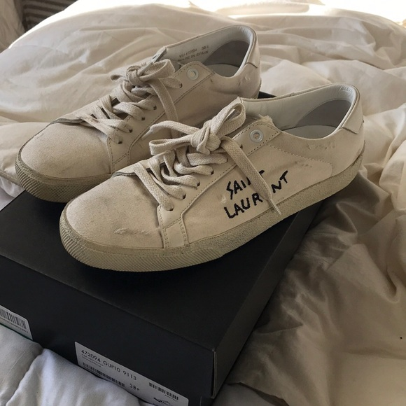 ed3fe9fa4f2 M 5a11ce2b4225be1af50830a7. Other Shoes you may like. Saint Laurent denim  sneakers with white stars
