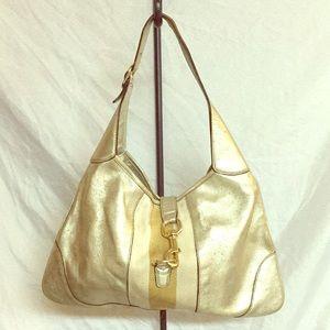 Authentic Gucci Metallic Gold Shoulder Bag!