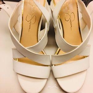 NEW Jessica Simpson, White Wedge Heels