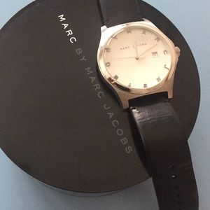 Marc by Marc Jacobs black leather & silver watch