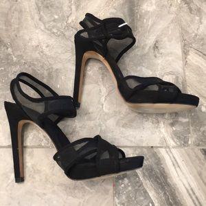 Zara Collection Black Suede Sandals Sz 37