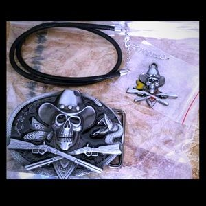 Cowboy skull belt buckle cord necklace & pendant