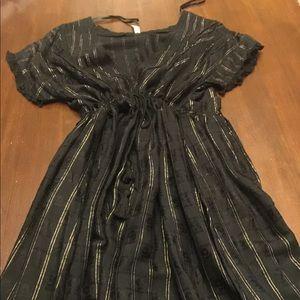 Free People - Black & Gold Maxi Dress