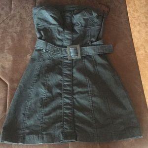 Strapless grey shirt dress