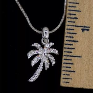 Jewelry - Silver Palm Tree Necklace Shiny Clear Crystals New