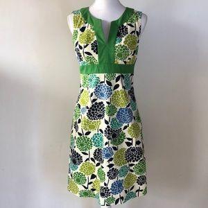 Boden White, Blue & Green Floral Dress, 6R