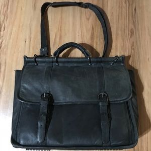 Fellows black leather briefcase laptop bag black