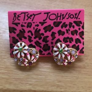Betsy Johnson Heart Crystal Earrings