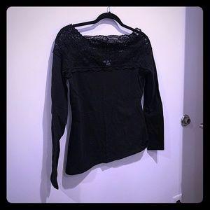 Black lace off shoulder tee