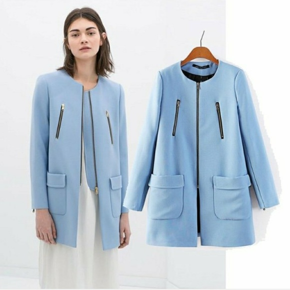 half price better price 2019 clearance sale NEW Zara Powder Blue Coat