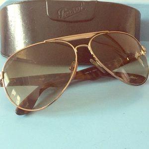 Persol aviator gold & tortoise shell sunglasses