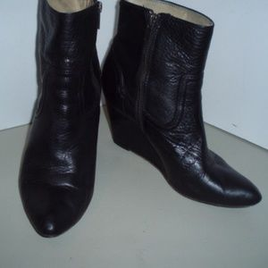 FRYE Black Leather Booties/Wedge Heels/Boots