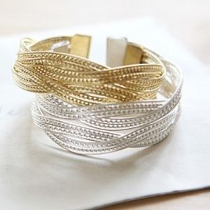 Gold/Silver Twisted Open Cuff Bangle Bracelet