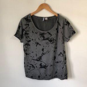 Grey and Black Abstract Print Tee