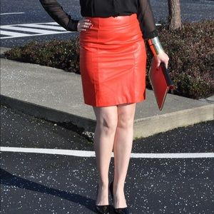Faux red leather skirt