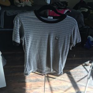 Grey and white striped alien crop top