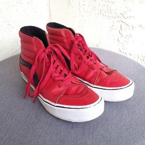 Vans Old Skool Red Black Leather High Tops Shoes