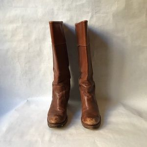 Worn frye boots - maroon brown