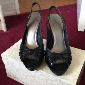 Black sling heels