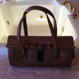 Gucci Leather with Bamboo Enclosure Handbag.