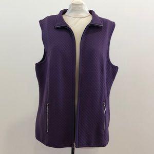 NWT Karen Kane Sport Purple Zip-Up Quilted Vest