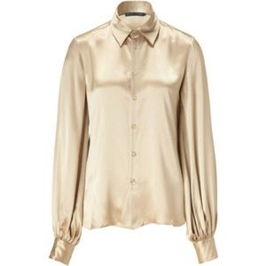 RALPH LAUREN Golden Beige Silk Satin Deena Top