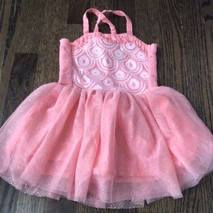 Toddler Girls Coral and Gold Sparkle Tutu Dress