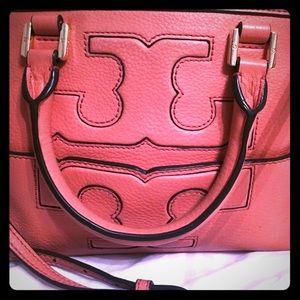Rare HTF Tory Burch coral pink satchel purse