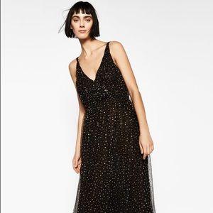 Zara - Black Tulle Glitter Long Dress