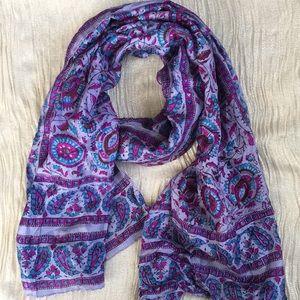 "Vintage silk scarf, hand printed 21"" x 70"""