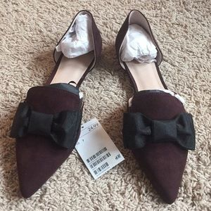 NWT H&M Plum Suede Bow Pointed Ballet Flats Sz 7